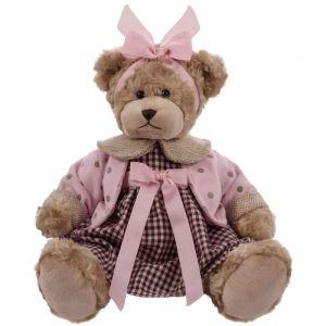 BEPPE -  Medvídek Daizy 33 cm v růžových kostkovaných šatech