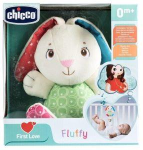 Chicco - First Love -  Chicco zajíček Fluffy s  chrastítkem a hracím strojkem