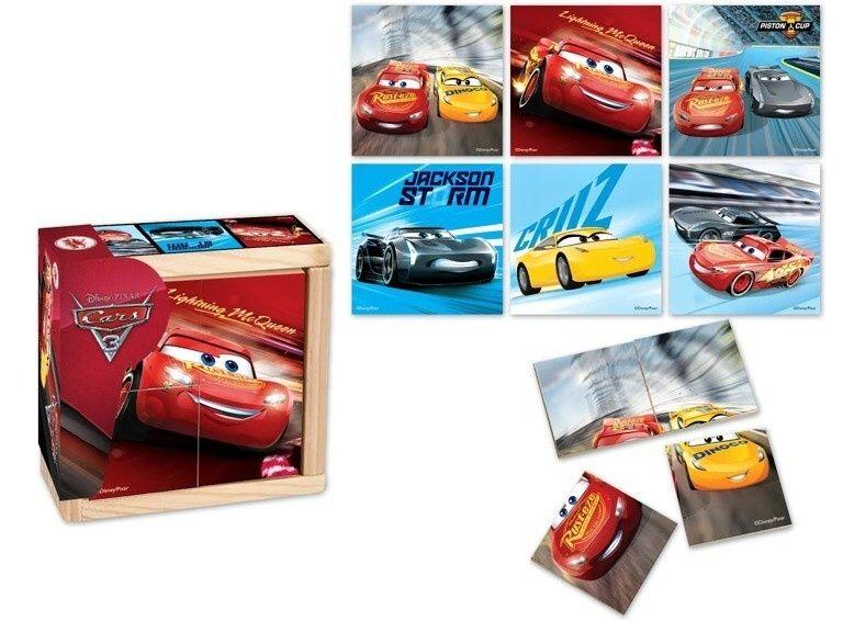 Dřevěná skládačka ze 4 ks ( 6 obrázků ) v dřevěné krabičce - CARS - Auta 3 Playme - Brimarex
