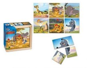 Dřevěná skládačka  ze 4 ks ( 6 obrázků )  v dřevěné krabičce - Lví hlídka