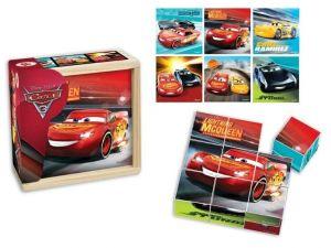 Dřevěné obrázkové  kostky -  CARS - Auta 3   - 9 ks kubus v dřevěné krabičce