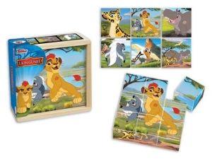 Dřevěné obrázkové  kostky -  Lví hlídka   - 9 ks kubus v dřevěné krabičce