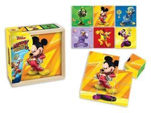 Dřevěné obrázkové  kostky -  Mickey Mouse   - 9 ks kubus v dřevěné krabičce