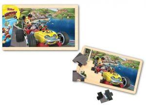 Dřevěné puzzle  15 dílků  30 x 18 cm - Mickey - Roadster