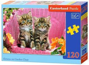 Puzzle Castorland 120 dílků - Kočičky v zahradním  křesílku  13357