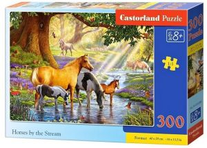 Puzzle Castorland 300 dílků - koně u potoka  030286