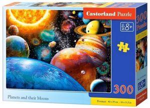 Puzzle Castorland 300 dílků - planety a jejich měsíce   030262