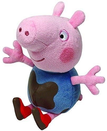 TY Beanie Babies - Peppa Pig - prasátko Pepina - Tomík- zablácený - 15 cm plyšák - plyšová hračka