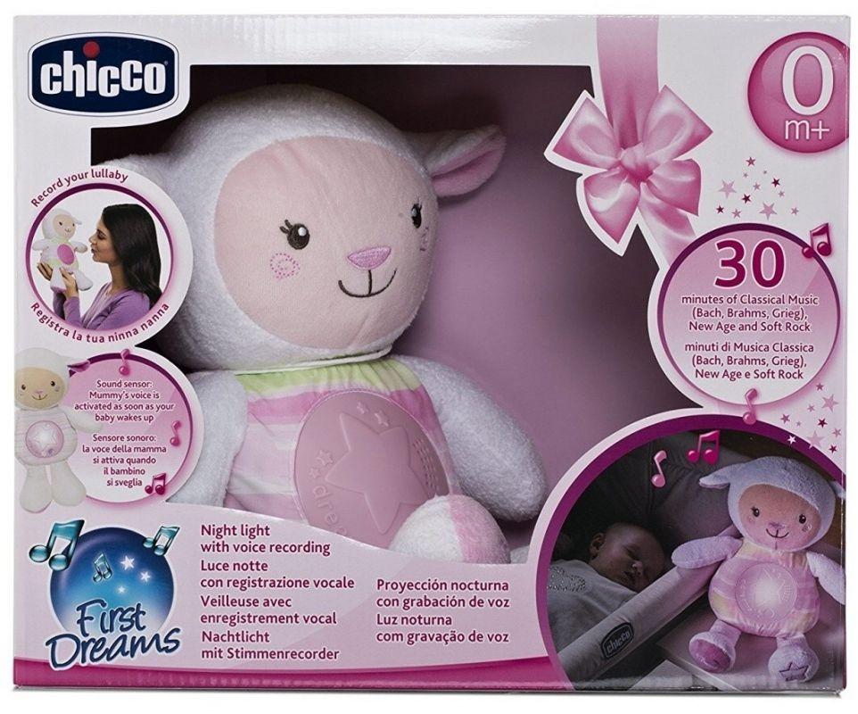 Chicco ovečka s noční lampičkou růžová