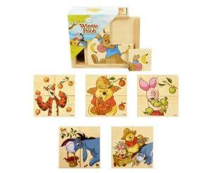 Dřevěná skládačka  ze 4 ks ( 6 obrázků )  v dřevěné krabičce - Medvídek Pů