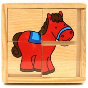 Dřevěná skládačka  ze 4 ks ( 6 obrázků )  v dřevěné krabičce - koník 4597