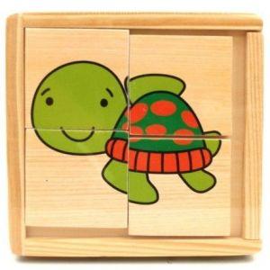Dřevěná skládačka  ze 4 ks ( 6 obrázků )  v dřevěné krabičce - želva 4603