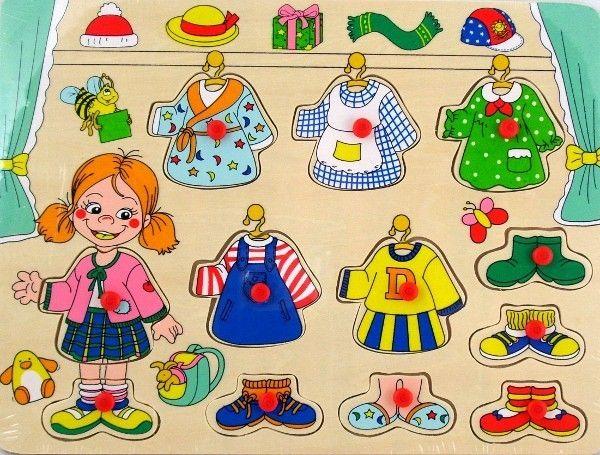 Dřevěná vkládačka - oblékání - holčička 22 x 30 cm Playme - Brimarex