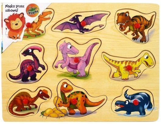 Dřevěná vkládačka s úchyty 9 dílků - 30 x 22 cm - Dinosauři Playme - Brimarex