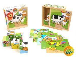 Dřevěné obrázkové  kostky -  Farma  - 9 ks kubus v dřevěné krabičce