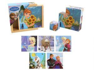 Dřevěné obrázkové  kostky -  Frozen  - 9 ks kubus v dřevěné krabičce