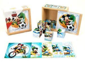 Dřevěné obrázkové  kostky -  Mickey a Minnie Mouse  - 9 ks kubus v dřevěné krabičce