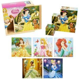 Dřevěné obrázkové  kostky -  Princezny  - 9 ks kubus v dřevěné krabičce