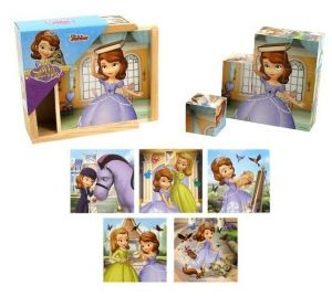 Dřevěné obrázkové  kostky -  Sofie První   - 9 ks kubus v dřevěné krabičce