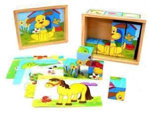 Dřevěné obrázkové  kostky -  Zvířátka   - 12 ks kubus v dřevěné krabičce
