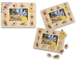 Dřevěné puzzle 6 dílků + vkládačka  s úchyty  10 dílků -  30 x 22 cm - Princezny