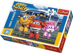 Trefl puzzle  30 dílků  - Super Wings - Kamarádi před hangárem   - 18226