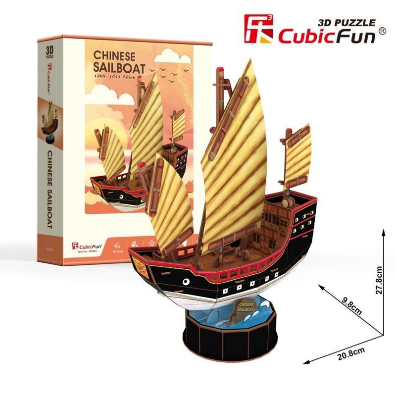 CubicFun 3D puzzle - plachetnice Chinese 62 dílků - 24033 Cubic Fun