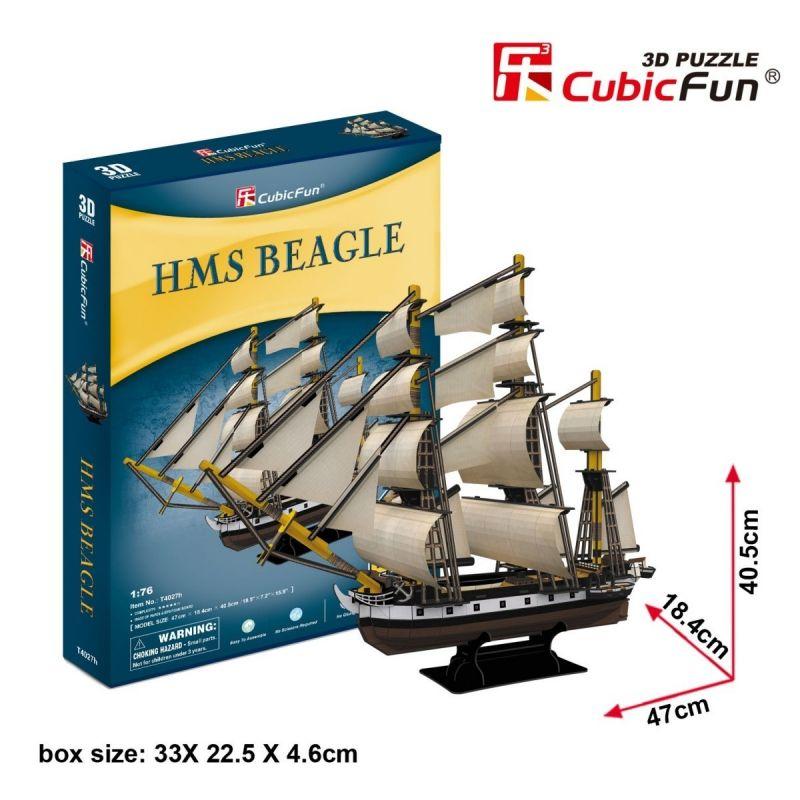 CubicFun 3D puzzle - plachetnice HMS Beagle 168 dílků - 24027 Cubic Fun