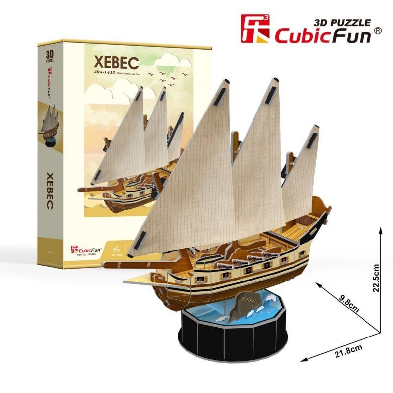 CubicFun 3D puzzle - plachetnice Xebec 53 dílků - 24034 Cubic Fun