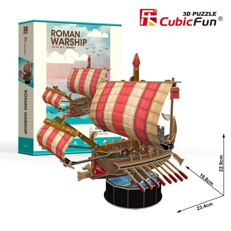 CubicFun 3D puzzle - římská loď Warship 85 dílků - 24032 Cubic Fun