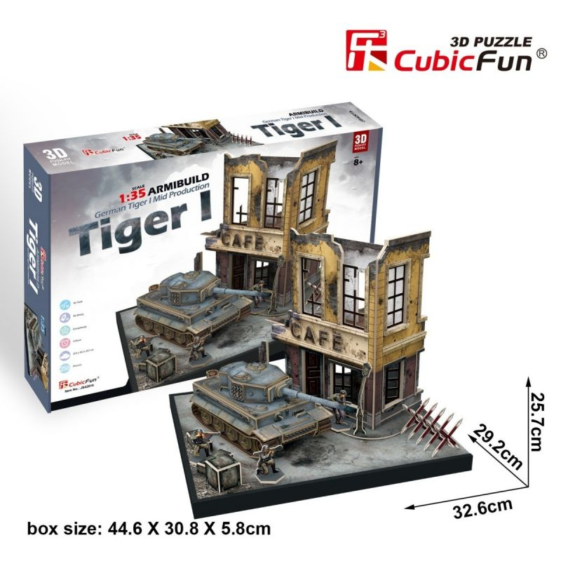 CubicFun 3D puzzle - tank German Tiger + budova 258 dílků - 24201 Cubic Fun