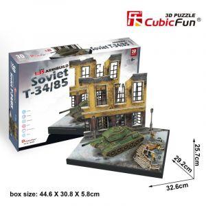 CubicFun 3D puzzle - tank Soviet T34/85  + budova 213 dílků  - 24202