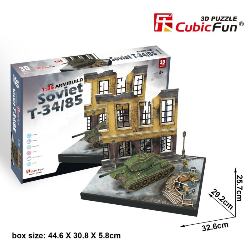 CubicFun 3D puzzle - tank Soviet T34/85 + budova 213 dílků - 24202 Cubic Fun