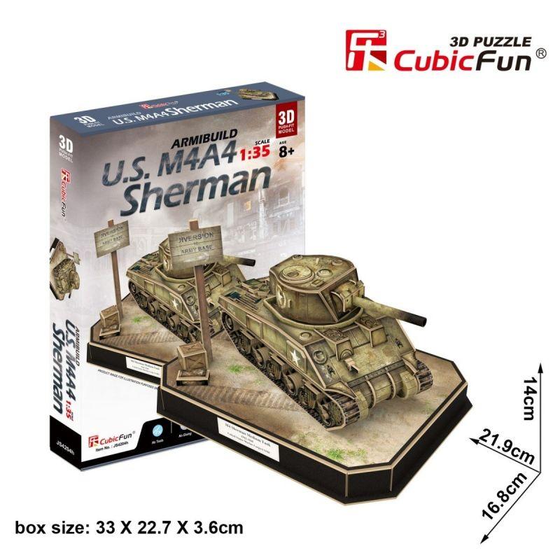 CubicFun 3D puzzle - tank U.S. M4A4 Sherman 263 dílků - 24204 Cubic Fun