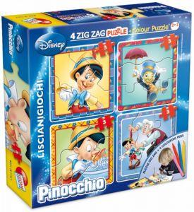 puzzle Lisciani  Baby  4 x 3 dílky  ZIG ZAG oboustranné  Pinocchio   40698