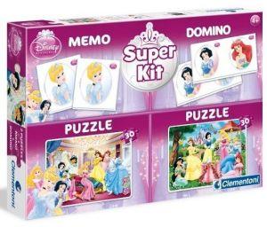 Super Kit  - hry  Clementoni 4v1 ( 2x  puzzle , domino , pexeso ) Princezny   08203