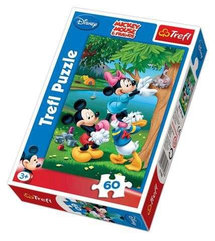 60 dílků - Mickey Mouse - piknik s Donaldem - puzzle Trefl 17198