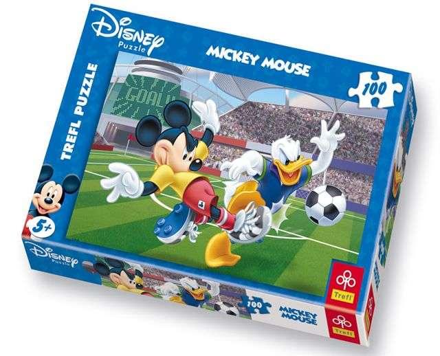 100 dílků - Mickey Mouse - Na stadionu - puzzle Trefl 16122
