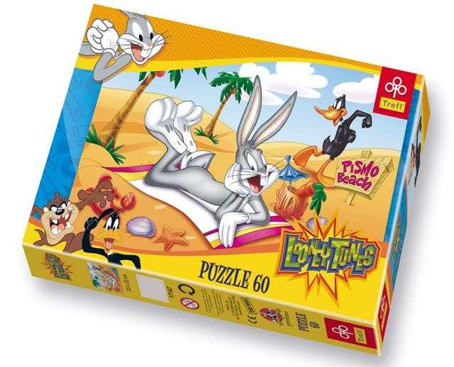 60 dílků králík Bugs Bunny na pláži - puzzle Trefl 17147