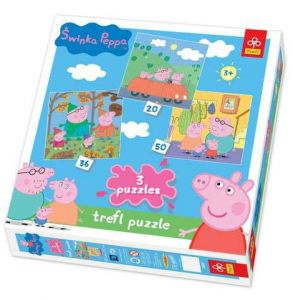 20, 36 a 50 dílků Prasátko Pepina -  puzzle   Trefl  3v1