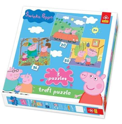 20, 36 a 50 dílků Prasátko Peppa - puzzle Trefl .