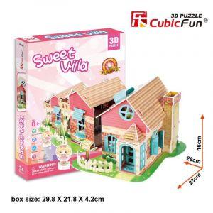 3 D Puzzle CubicFun - Domeček pro panenky  Sweet Villa   84  dílků   20615