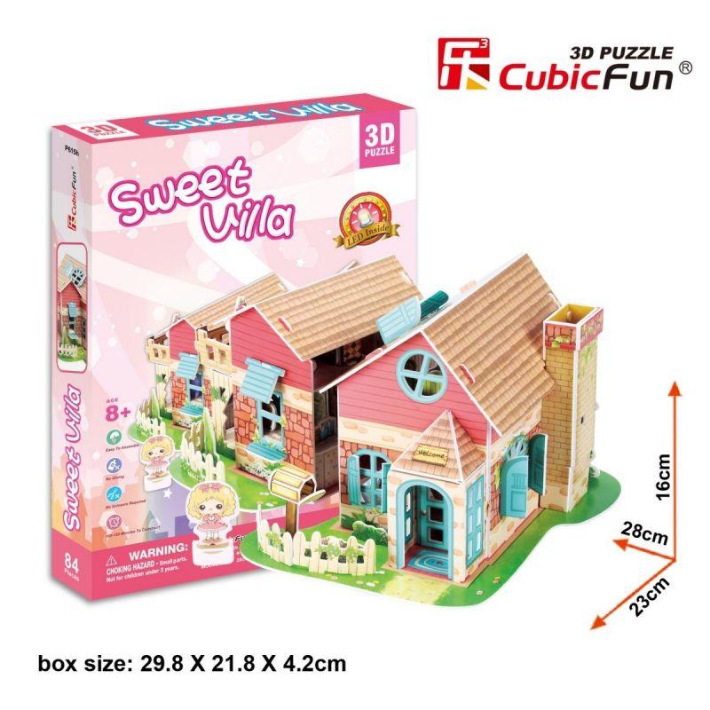 3 D Puzzle CubicFun - Domeček pro panenky Sweet Villa 84 dílků 20615 Cubic Fun