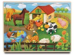 Brimarex - Dřevěné puzzle - 12 dílků  farma  30 x 22,5  cm   1577122