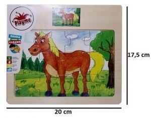 Brimarex - Dřevěné puzzle - 12 dílků  kůň   17,5  x 20 cm   1577092