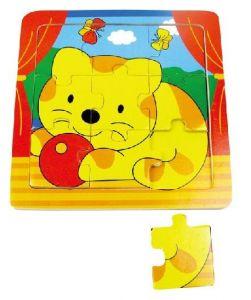 Brimarex - dřevěné puzzle - 9 dílků  kočička   15 x 15 cm