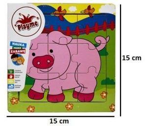 Brimarex - dřevěné puzzle - 9 dílků  prasátko  15 x 15 cm