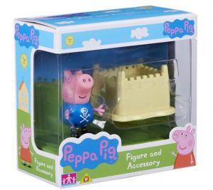 Peppa Pig - prasátko Peppa - figurka s doplňky - Tomík a hrad z písku
