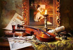 Puzzle Castorland 1000 dílků - Zátiší s houslemi 103621