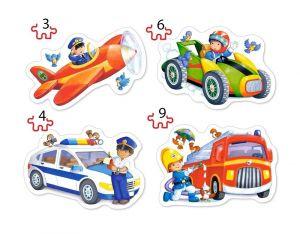 Puzzle Castorland 4v1 = 3-9 dílků  Dopravní prostředky  005055